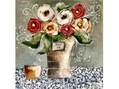 French flowerpot with yellow, white and red flowers